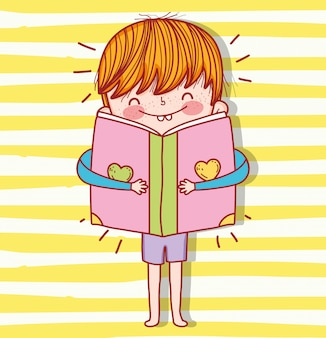 Boy with book education to event celebration