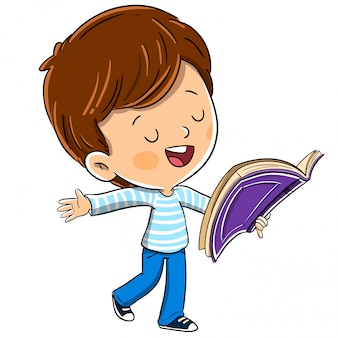 Boy with a book reading aloud