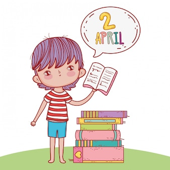 Boy with books education and chat bubble
