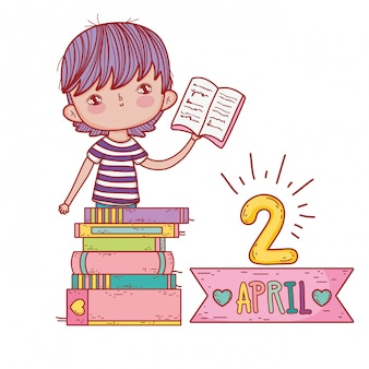 Boy with books education to study and learn