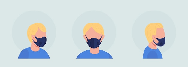 통기성 벤트 마스크 반 플랫 컬러 벡터 캐릭터 아바타 세트를 가진 소년. 정면과 측면에서 본 초상화. 그래픽 디자인 및 애니메이션 팩을 위한 격리된 현대 만화 스타일 그림