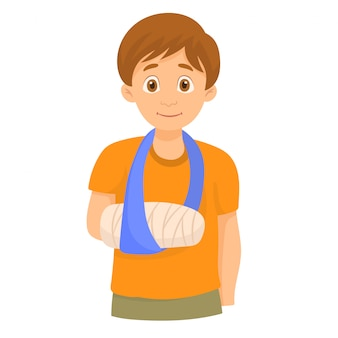 Boy with broken arm in bandages