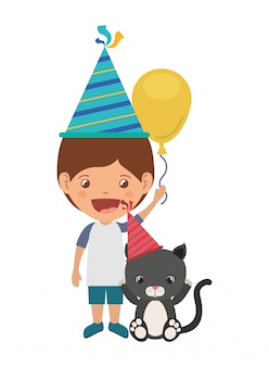 Boy with cat in birthday celebration