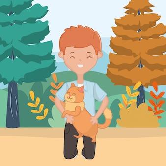 Boy with cat cartoon design