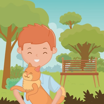 Boy with cat cartoon design