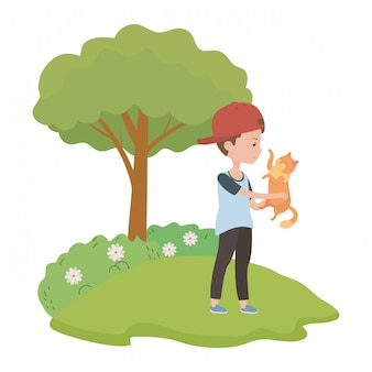 Boy with cat cartoon