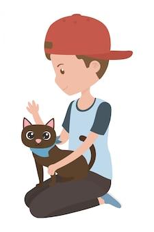 Boy with cat of cartoon