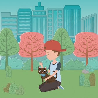 Boy with cat of cartoon