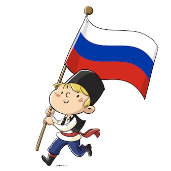 Boy with clothes and russian flag