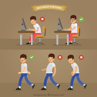 Boy with correct and incorrect postures pack