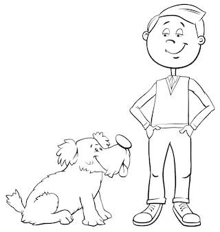 Мальчик с милой собакой раскраски