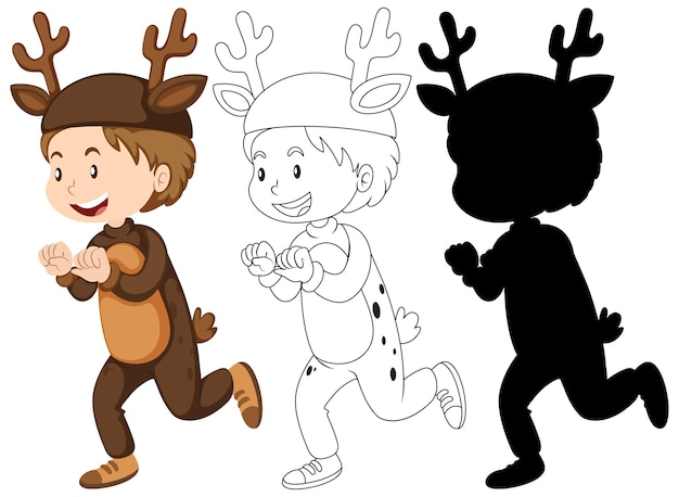 Boy with deer costume in color and outline and silhouette Free Vector