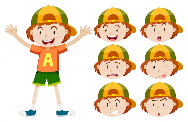 Boy with different facial expressions Free Vector
