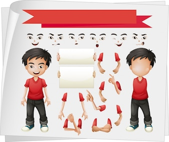 Boy with different set of faces illustration