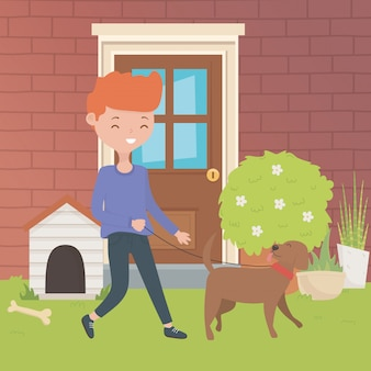 Boy with dog cartoon design