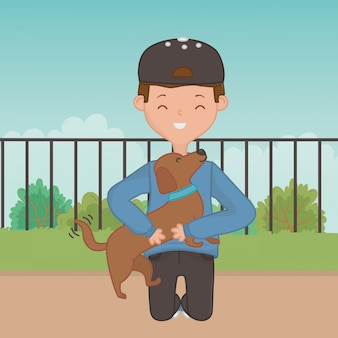 Boy with dog cartoon design