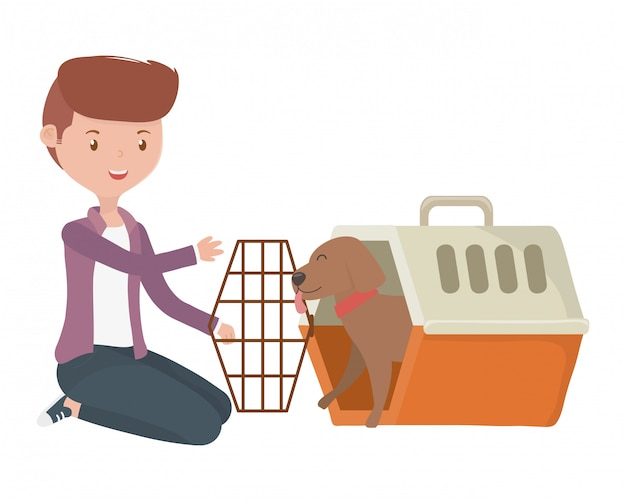 Boy with dog of cartoon inside kennel