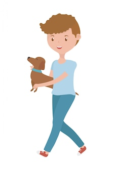 Boy with dog cartoon