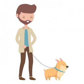 Boy with dog cartoon