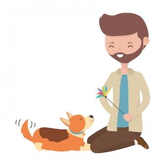 Boy with dog of cartoon