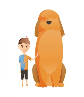 Boy with dog isolated on white . holding their domestic animal. male flat cartoon character. colorful  illustration