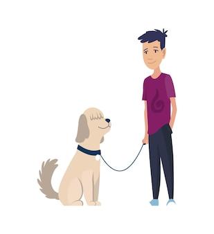 가죽 끈에 앉아 강아지와 강아지와 소년 프리미엄 벡터
