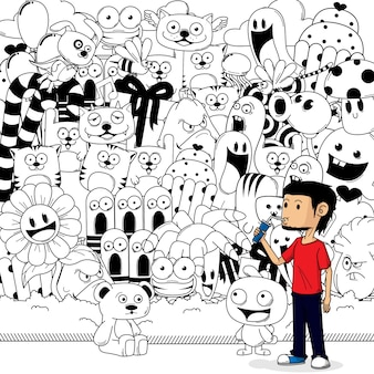 A boy with doodle background