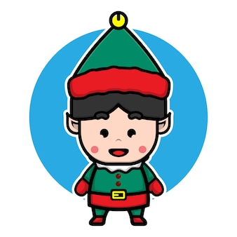 Мальчик с костюмом эльфа мультяшный вектор рождественской концепции иллюстрации