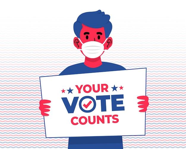 2020年の米国大統領選挙で投票を奨励するための看板を持っているフェイスマスクを持つ少年
