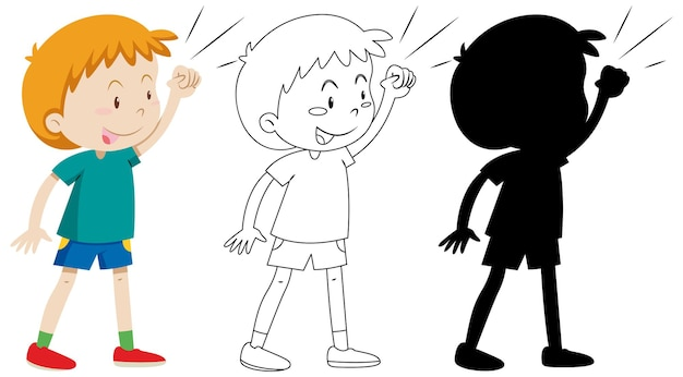 Boy with fighting pose in colour and outline and silhouette