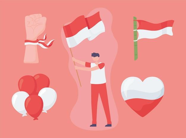 インドネシアの旗を持つ少年