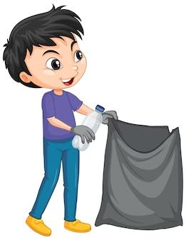 孤立した背景にゴミ袋を持つ少年