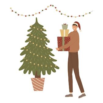 クリスマスの贈り物を持つ少年