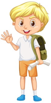 Boy with green backpack greeting on white