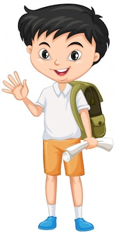 Boy with green backpack on white