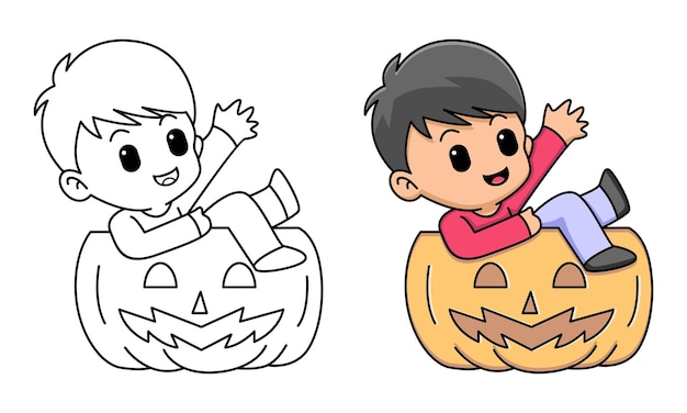 Boy with halloween pumpkin coloring page for kids
