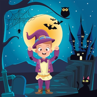 Boy with halloween wizard costume in front of house at night design, holiday and scary theme