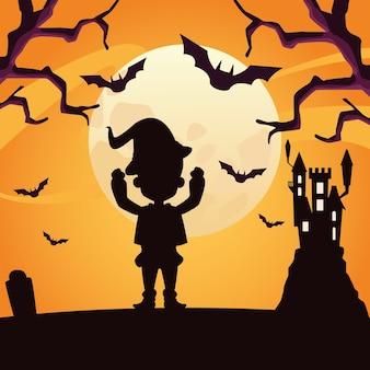 Мальчик с дизайном силуэта костюма волшебника хэллоуина, праздником и страшной темой