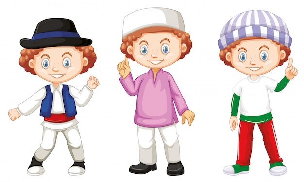 Boy with happy face in different costumes