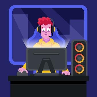 Ragazzo con dipendenza da gioco online per cuffie