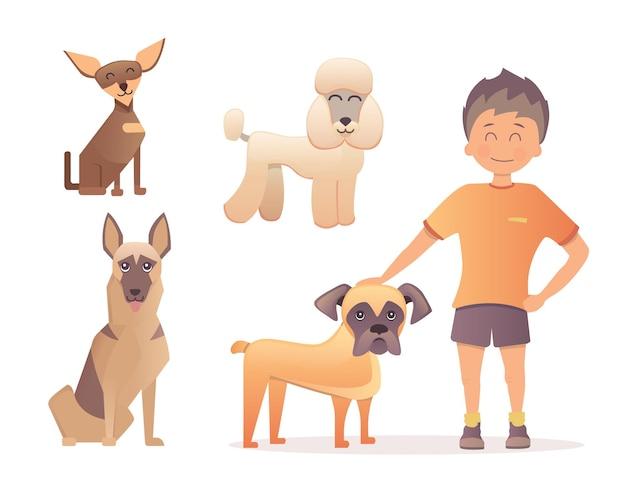 그의 개를 가진 소년입니다. 평면 디자인의 그림입니다.