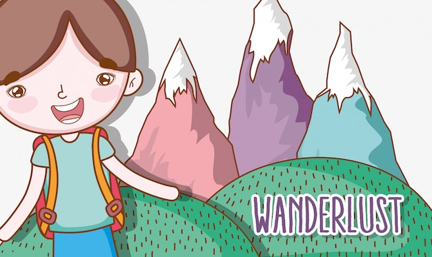 Boy with ice mountains wanderlust adventure expedition