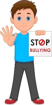 Мальчик с буквами прекратить издевательства на белом фоне