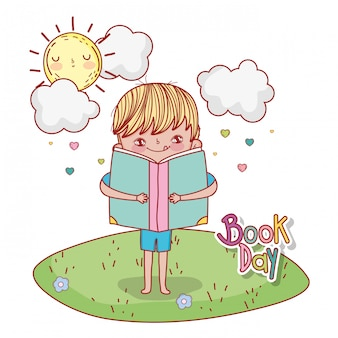 Boy with lread book education and sun