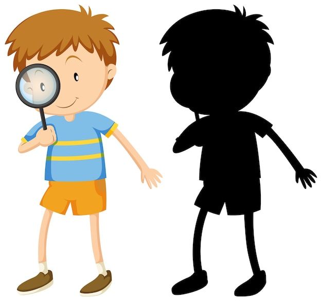 Boy with magnifying glass in color and silhouette