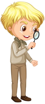 Boy with magnifying glass on white