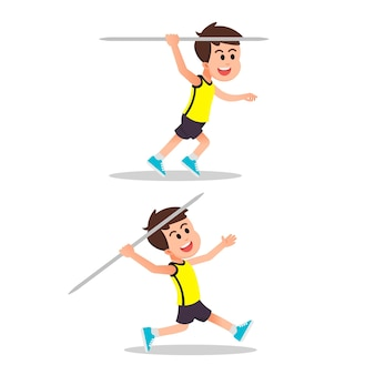A boy with multiple javelin throwing moves