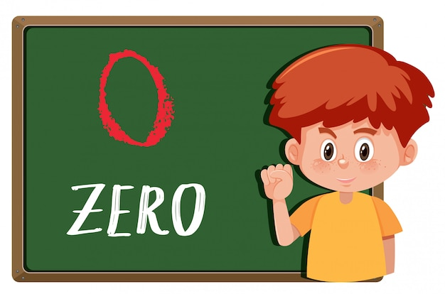 Boy with number hand gesture on the board