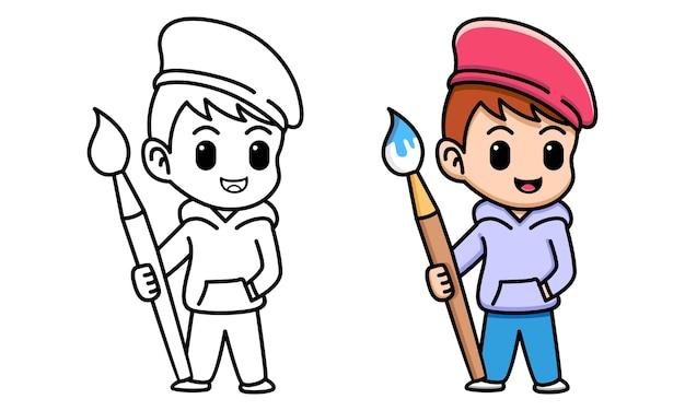 Мальчик с кистью раскраски для детей