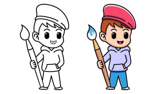Boy with paintbrush coloring page for kids